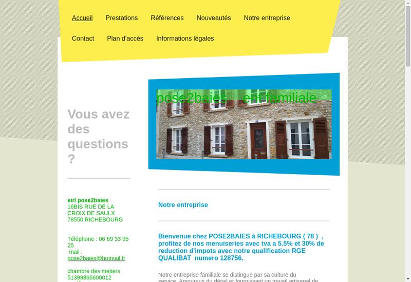 Capture d'écran du site de Pose2Baies