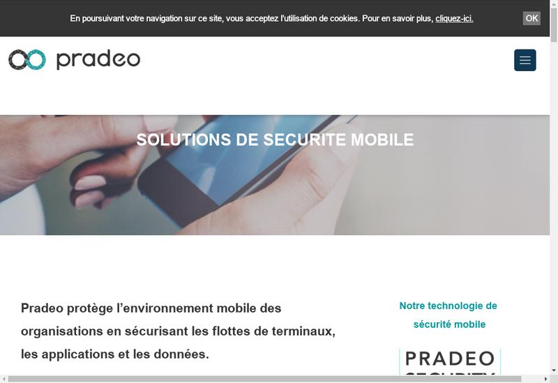 Capture d'écran du site de Pradeo Security Systems