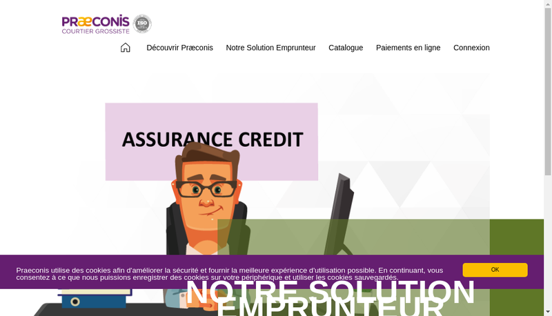 Capture d'écran du site de Praeconis
