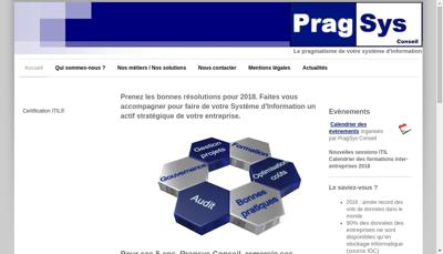 Capture d'écran du site de Pragsys Conseil