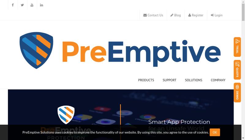 Capture d'écran du site de Preemptive Solutions SARL