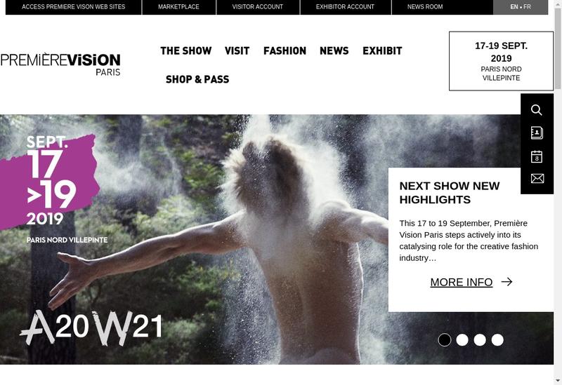 Capture d'écran du site de Premiere Vision