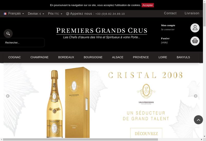 Capture d'écran du site de Premiers Grands Crus