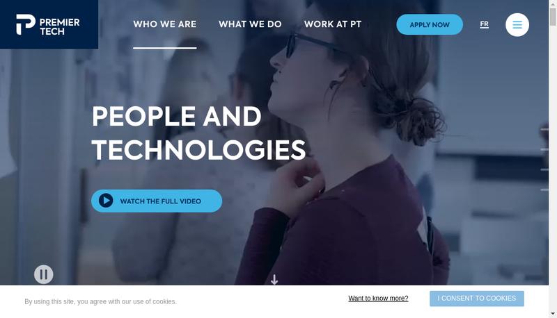 Capture d'écran du site de Premier Tech Chronos
