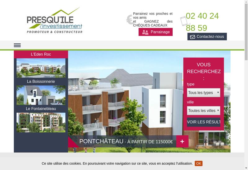 Capture d'écran du site de Presqu Ile Investissement
