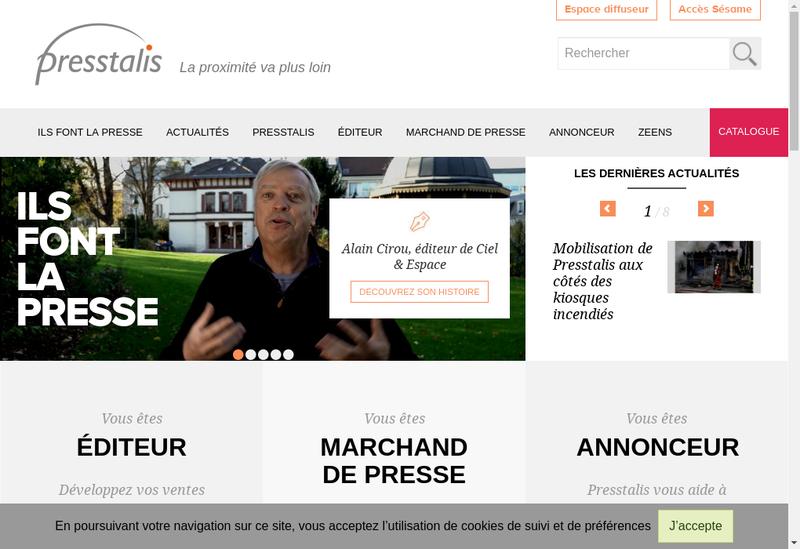 Capture d'écran du site de Presstalis