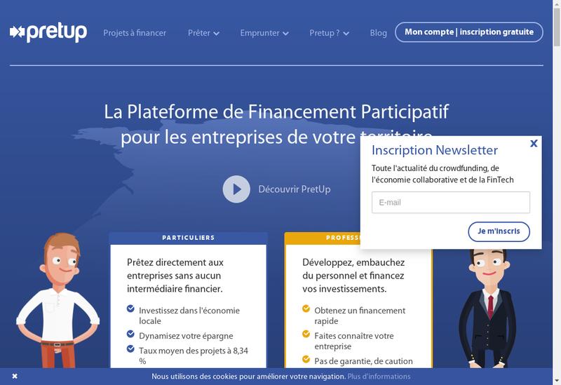 Capture d'écran du site de Pretup