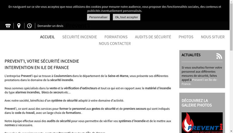 Capture d'écran du site de Prevent I