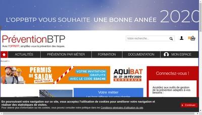 Site internet de Organisation Professionnelle de la Prevention Dans le Batiment et Travaux Publics
