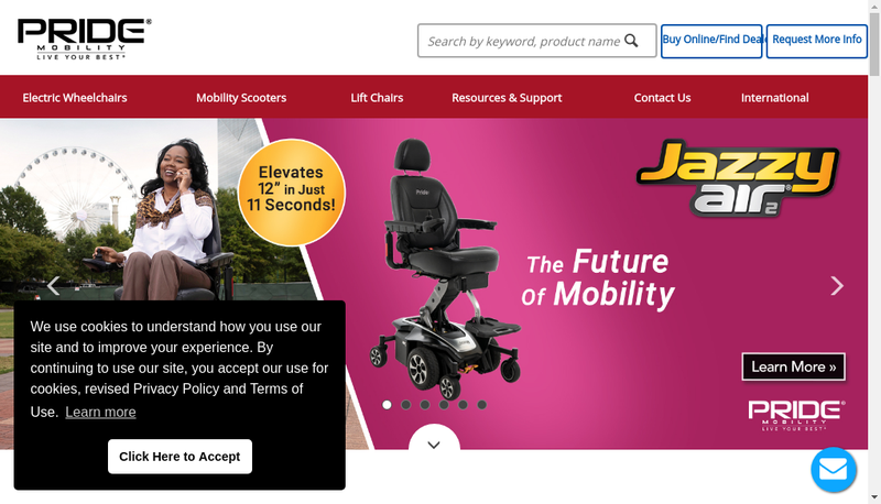 Capture d'écran du site de Pride Mobility Products