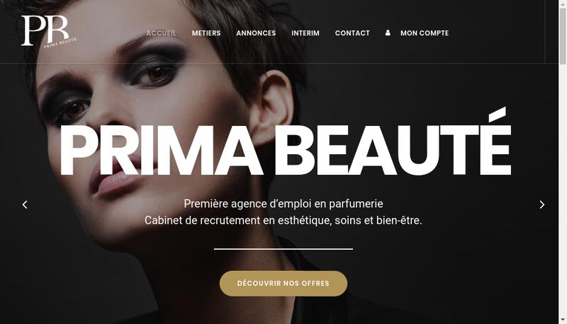 Capture d'écran du site de Prima Beaute