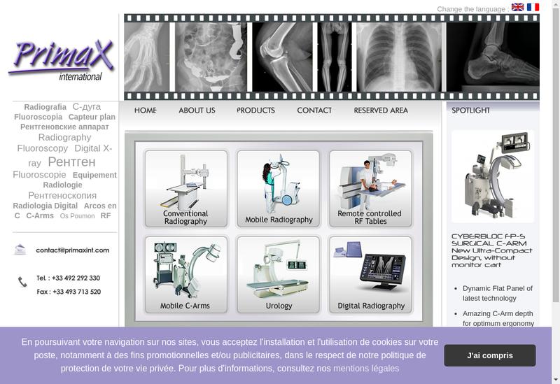 Capture d'écran du site de Primax International