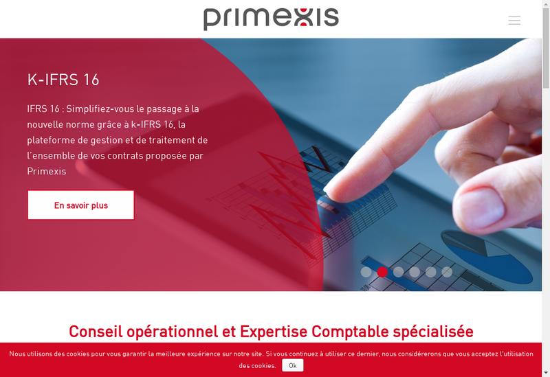 Capture d'écran du site de Primexis