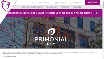 Capture d'écran du site de PRIMONIAL REIM