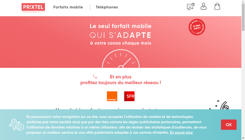Capture d'écran du site de Prixtel