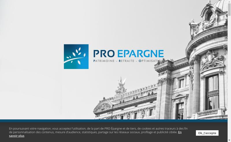 Capture d'écran du site de Pro Epargne