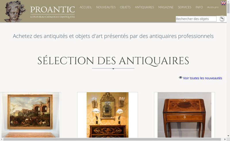 Capture d'écran du site de Proantic