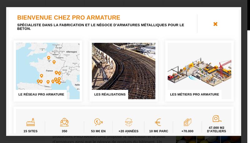 Capture d'écran du site de Armatures Services