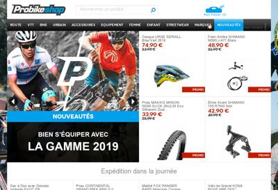 Capture d'écran du site de Probikeshop