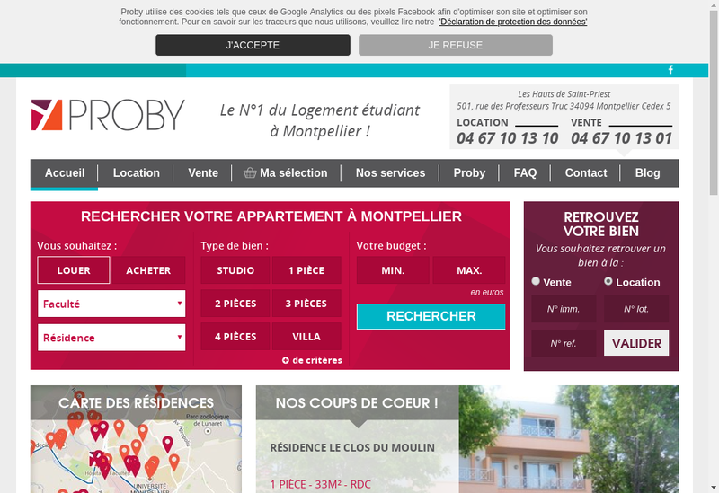 Capture d'écran du site de Agce Proby Societe Cial Immob Transac Scit