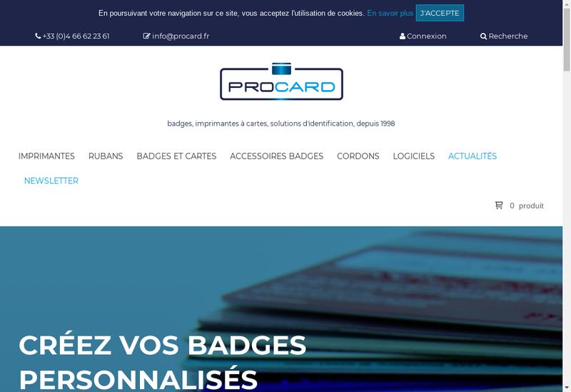 Capture d'écran du site de Procard