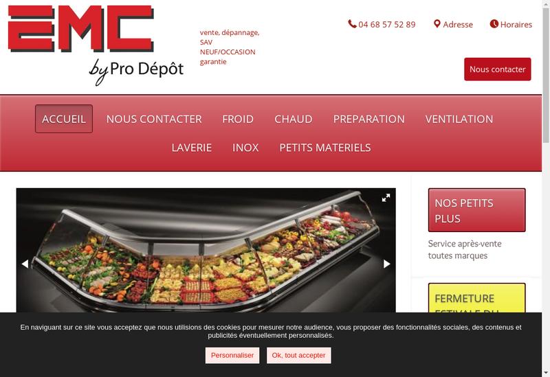 Capture d'écran du site de Pro Depot