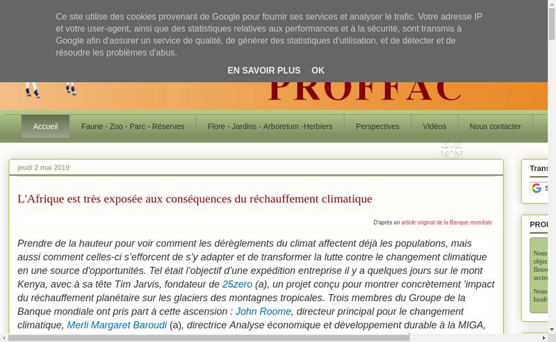 Capture d'écran du site de Proffac