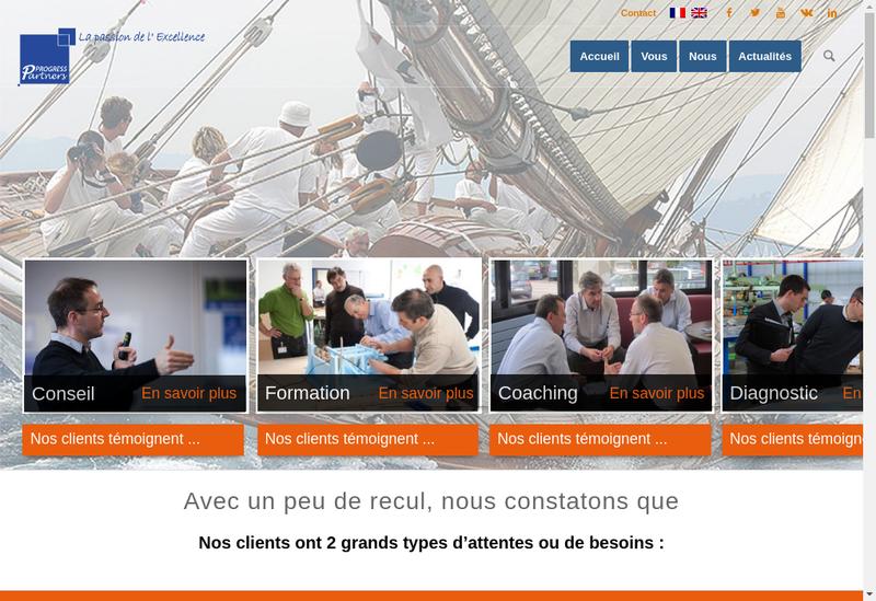 Capture d'écran du site de Progress Partners