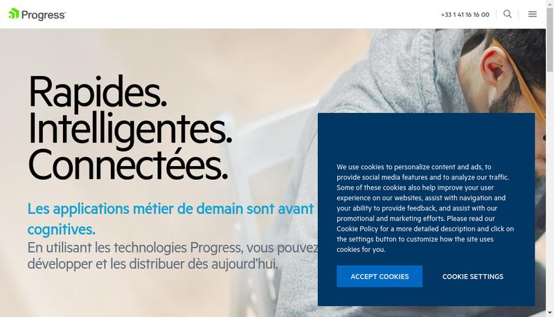 Capture d'écran du site de Progress Software
