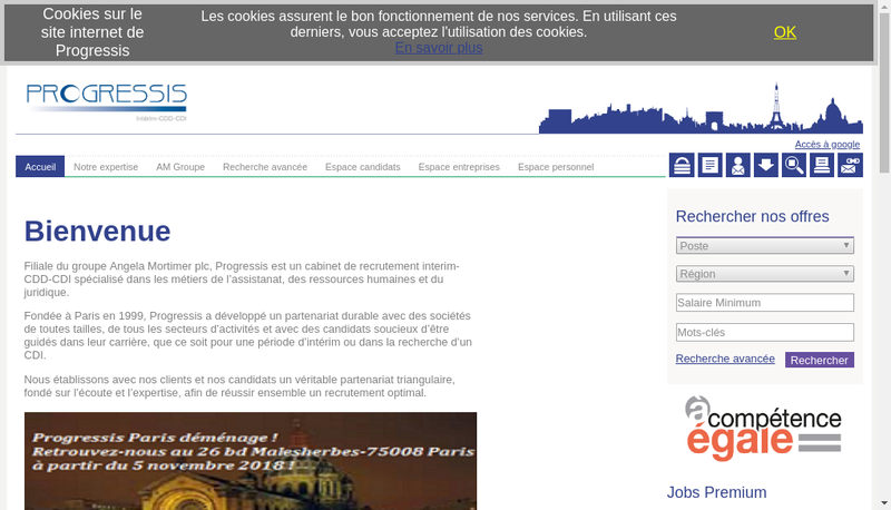 Capture d'écran du site de Progressis