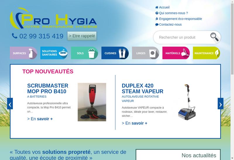 Capture d'écran du site de Pro Hygia