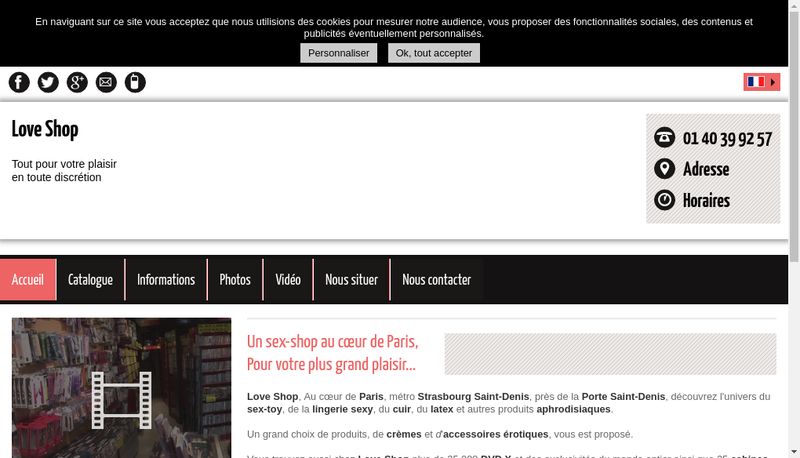 Capture d'écran du site de Loveshop