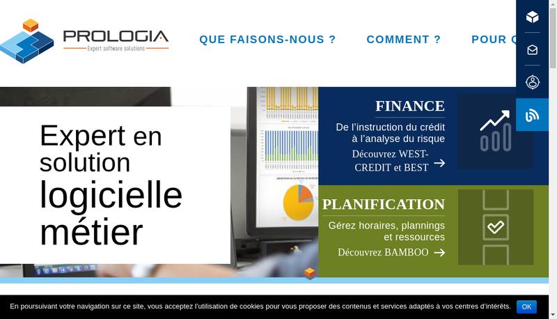 Capture d'écran du site de Prologia