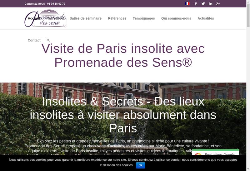Capture d'écran du site de Visite Paris insolite - Promenade des Sens