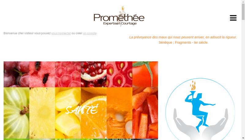 Capture d'écran du site de Promethee Expertise et Courtage