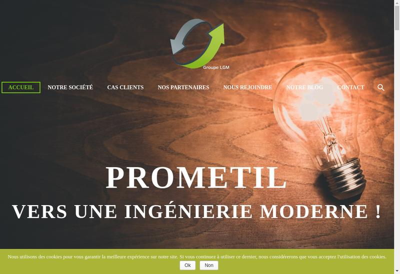Capture d'écran du site de Prometil
