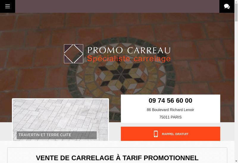 Capture d'écran du site de Promo Carreau