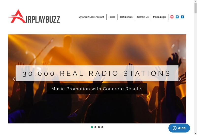 Capture d'écran du site de Airplaybuzz
