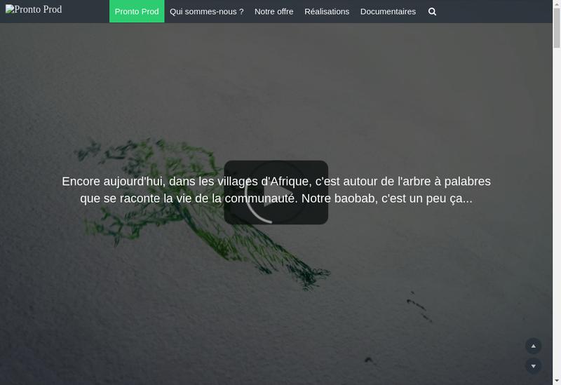 Capture d'écran du site de Pronto Prod
