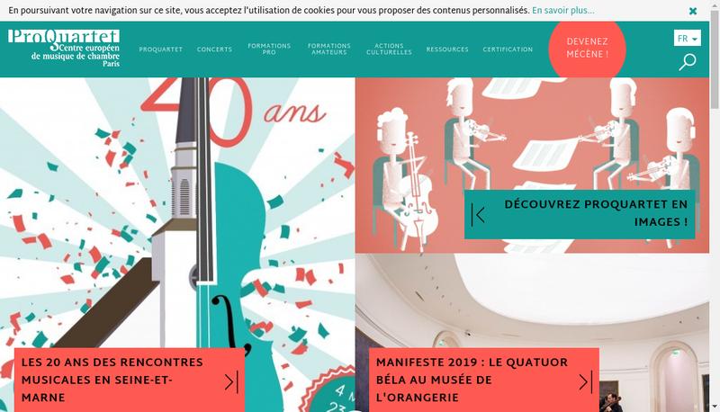 Capture d'écran du site de Pro Quartet Centre Eur Musique Chambre