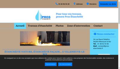 Capture d'écran du site de Pros Etancheite