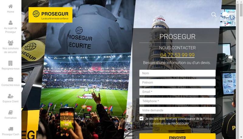 Capture d'écran du site de Prosegur Traitement de Valeurs