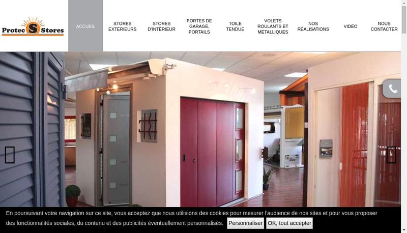 Capture d'écran du site de Protec Stores