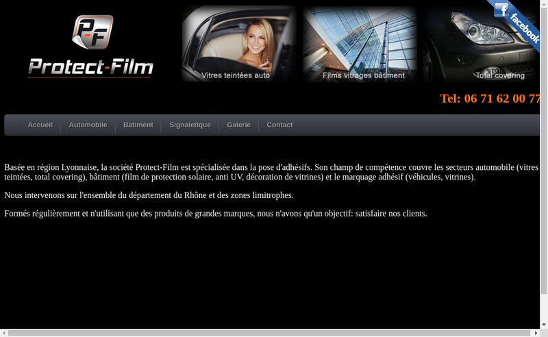 Capture d'écran du site de Protect Film