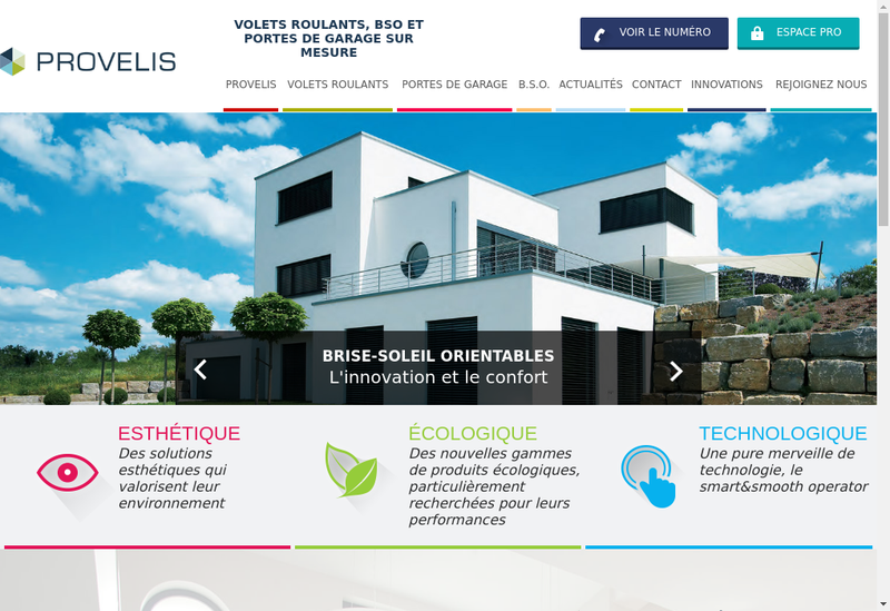 Capture d'écran du site de Provelis