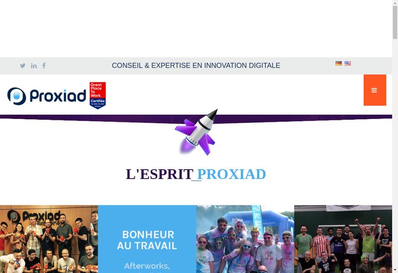 Capture d'écran du site de Proxiad Axe Seine