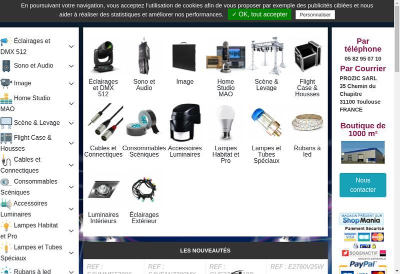 Capture d'écran du site de Prozic