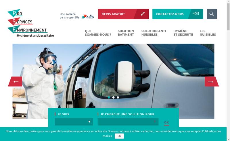 Capture d'écran du site de Pro Services Environnement