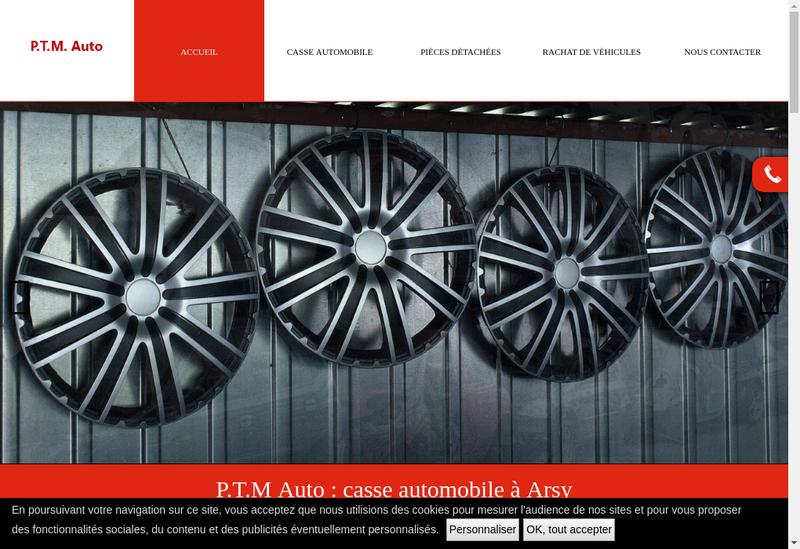 Capture d'écran du site de PTM Auto Carambolage