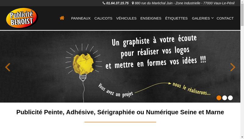 Capture d'écran du site de Publicite Benoist